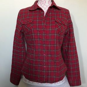 Abercrombie & Fitch red/black flannel shirt EUC